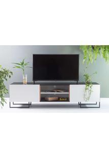 Rack Para Tv Preto Estilo Industrial Pés De Metal E 2 Portas Brancas Crosby 183X43,6X48,5 Cm