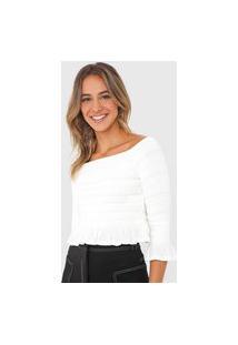 Blusa Cropped Open Style Franzida Off-White