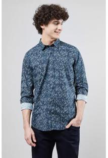Camisa Pf Reserva Folhagem Bicolor Masculina - Masculino-Marinho