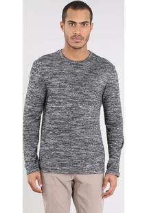 Suéter Masculino Slim Fit Em Tricô Cinza Mescla Escuro