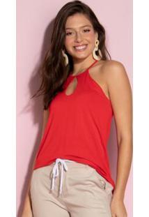Blusa Vermelha Decote Em Alças Com Regulador