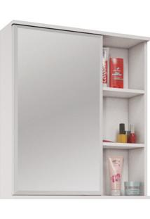 Espelheira Para Banheiro 1 Porta E Prateleiras Treviso Mgm Móveis Branco