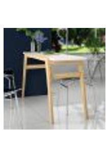 Mesa De Cozinha Com Pés Em Madeira Brv - Branco/Pinus