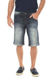 Bermuda Jeans Zune Reta Destroyed Azul