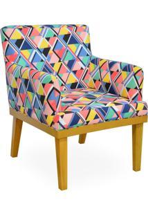 Poltrona Decorativa Para Sala De Estar Beatriz Geométrico Colorido - Lyam Decor