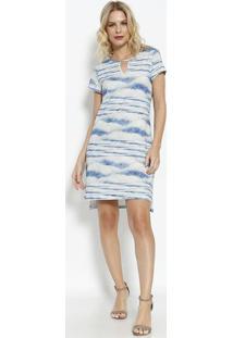 Vestido Tie-Dye Com Fenda & Recorte Vazado- Azul Claro &Vip Reserva
