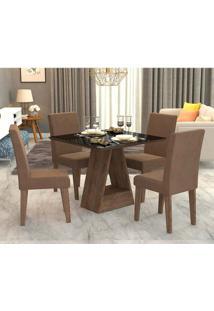 Conjunto De Mesa De Jantar Quadrada Alana Com 4 Cadeiras Milena Suede Chocolate E Preto