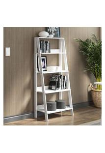 Estante Escada Para Livros Com 4 Prateleiras Madesa Branco