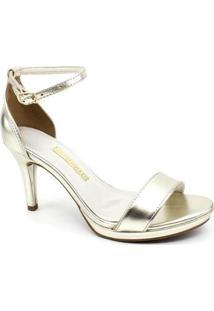 Sandália Salto Via Marte - Feminino-Dourado