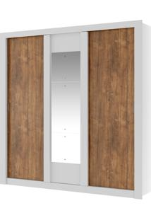 Roupeiro Ellus 3 Portas De Correr Branco C/ Espelho Móveis Carraro