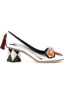 dfa0afae8 R$ 7753,00. Farfetch Sapato Com Salto Baixo Feminino Couro Bico Quadrado  Dolce E Gabanna ...