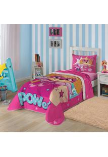 Edredom Solteiro Estampado Patrulha Canina Menina 1,50 M X 2,00 M Com 1 Peça Lepper Pink