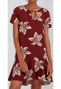 Vestido Curto Floral Lírio Vermelho