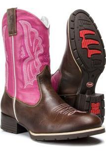Bota Em Couro Legítimo Texana Country Capelli Feminina - Feminino-Rosa