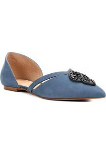 Sapatilha Couro Shoestock Pedra Cristal Feminina - Feminino