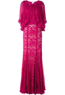 Dolce & Gabbana Vestido Longo Rendado - Rosa