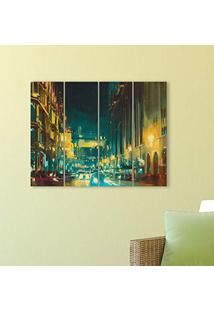 Placa Painel Decorativa Em Mdf Foto Cidade Noite Abstrato Kit 4 Placas