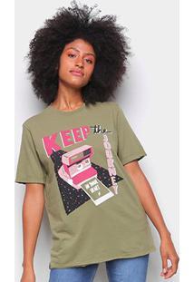 Camiseta Cantão Boyfriend Polaroid Feminina - Feminino-Verde Escuro