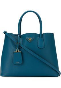 Prada Bolsa 'Double Bag' De Couro - Azul