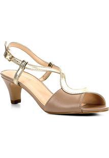 Sandália Couro Shoestock Salto Grosso Bicolor Feminina - Feminino-Dourado