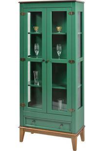 Cristaleira Bia 2 Portas E 1 Gavetas Cor Verde Com Amêndoa 180 Cm - 59026 - Sun House