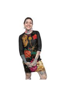 Vestido Chess Clothing Estampado Caveiras Colorido