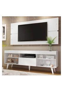 Rack Com Painel Para Tv Até 65 Polegadas Madesa Miami Com Pés Branco