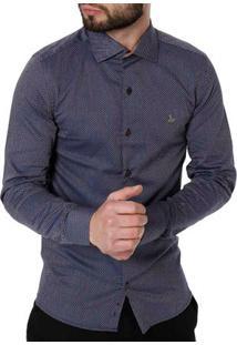Camisa Slim Manga Longa Masculina Azul Marinho