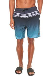 Bermuda Água Wg Reta Volley Stripes Cinza/Azul