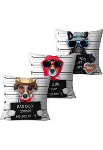 Kit 3 Capas Para Almofadas Decorativas Bad Dog 45X45Cm