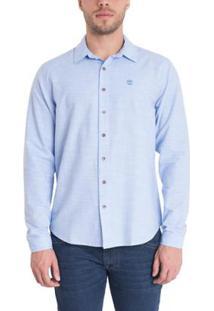 Camisa Timberland Cotton Stripes Masculina - Masculino-Azul Claro