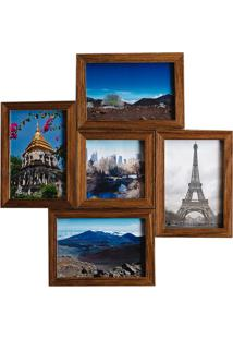 Porta Retrato Em Madeira Multifoto Natural 5 Fotos