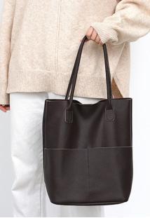 Bolsa Line Store Leather Sacola Shopper N1 Bolsos Couro Marrom - Kanui
