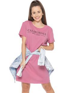 Vestido Feminino Com Escrita Califórnia Rosa