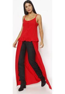 Blusa Alongada Com Babado- Vermelha- Linho Finolinho Fino