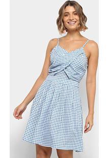 Vestido Lily Fashion Evasê Curto Xadrez - Feminino-Azul