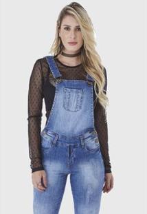 Macacão Jardineira Hno Jeans Azul - Feminino