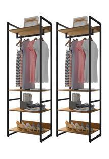 Kit 2 Guarda Roupas Closet Indy 4 Prateleiras F02 Castanho Texturizado