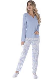 Conjunto Pijama Victory De Inverno Madam Feminino - Feminino-Azul