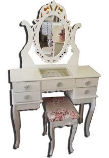 Penteadeira Filomena Mena Mena Em Mdf Com Espelho Princesa Branca