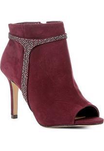 Ankle Boot Shoestock Nobuck Glam Salto Alto Feminina - Feminino-Vinho