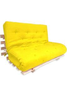 Sofa Cama Casal Futon Oriental Amarelo Com Madeira Maciça.