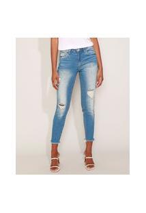 Calça Jeans Feminina Cigarrete Destroyed Com Bolsos Azul Médio