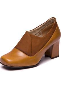 Sapato Bege Feminino Em Couro - Tamarindo / Flex Capuccino 6013