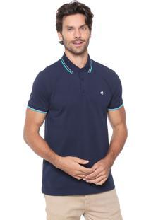 Camisa Polo Malwee Slim Listras Azul-Marinho