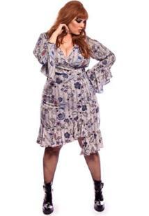 8176522e2 ... Saia Vintage And Cats Plus Size Com Estampa Xadrez Gales Com Flores -  Feminino-Azul
