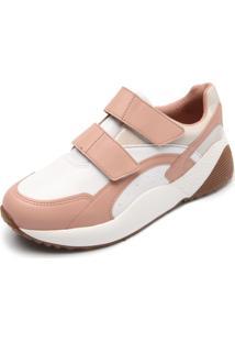 Tênis Vizzano Dad Sneaker Chunky Velcro Branco/Bege