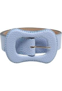 Cinto Birô Color Fivela Oval Feminina - Feminino-Azul