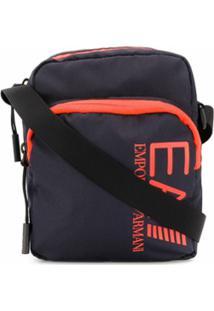 Ea7 Emporio Armani Bolsa Tiracolo Com Estampa De Logo - Azul