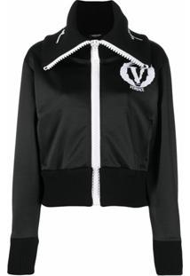 Versace Wide-Neck Logo Jacket - Preto